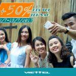 Viettel khuyến mãi 50% thẻ nạp từ ngày 12/7 đến ngày 18/7/2017