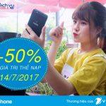 Vinaphone khuyến mãi tặng 50% thẻ nạp ngày vàng 14/7/2017