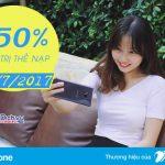 Vinaphone khuyến mãi 50% thẻ nạp ngày 28/7/2017