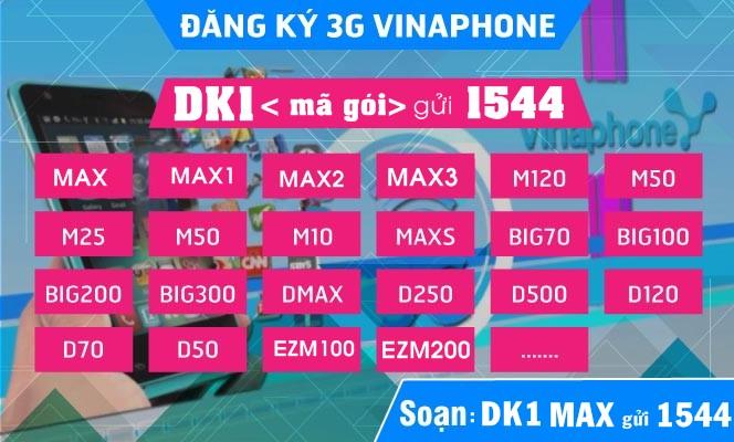 Các gói cước 3G Vinaphone ưu đãi data khủng