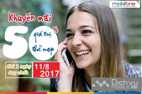 Khuyến mãi nạp thẻ Mobifone ngày 11/8/2017