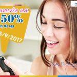 Mobifone khuyến mãi 50% giá trị thẻ nạp ngày vàng 5/9/2017