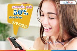Khuyến mãi nạp thẻ Mobifone ngày vàng 5/9/2017