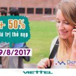 Khuyến mãi Viettel tặng 50% giá trị thẻ nạp ngày vàng 19/8/2017