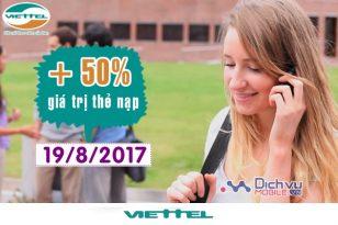 Khuyến mãi nạp thẻ Viettel ngày vàng 19/8/2017