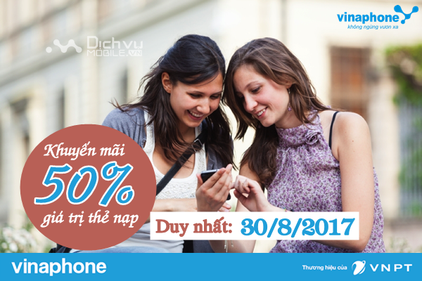 Khuyến mãi nạp thẻ Vinaphone ngày vàng 30/8/2017