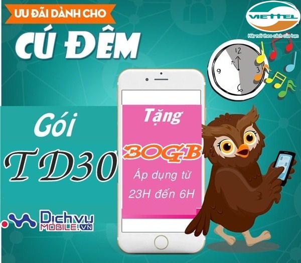 Cách đăng ký gói TD30 Viettel nhận ngay 30GB data chỉ 30.000đ/tháng