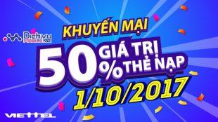 Viettel khuyến mãi 50% giá trị thẻ nạp ngày 1/10/2017