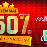 Viettel khuyến mãi 50% giá trị thẻ nạp từ ngày 12/9 đến 30/9/2017