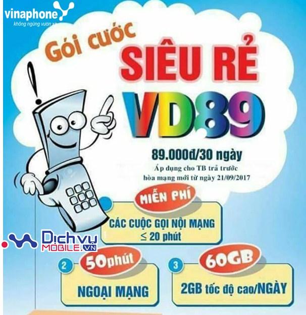 Đăng ký gói VD89 mạng Vinaphone nhận 60GB data mỗi tháng