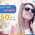 Khuyến mãi Mobifone tặng 50% thẻ nạp ngày vàng 28/9/2017