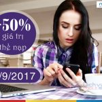 Mobifone khuyến mãi tặng 50% giá trị thẻ nạp ngày 30/9/2017