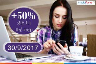 Khuyến mãi nập thẻ Mobifone ngày 30/9/2017