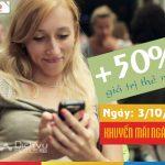 Mobifone khuyến mãi tặng 50% giá trị thẻ nạp ngày 3/10/2017 toàn quốc