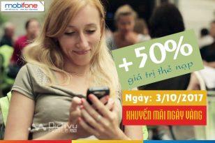 Mobifone khuyến mãi nạp thẻ toàn quốc ngày 3/10/2017