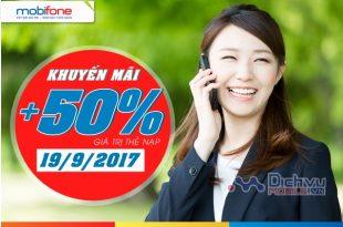 Mobifone khuyến mãi 50% giá trị thẻ nạp ngày 19/9/2017