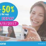 Vinaphone khuyến mãi nạp thẻ vào tài khoản Ezpay ngày 29/9/2017.