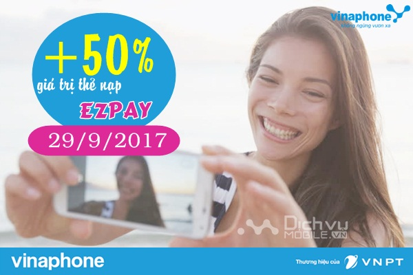 vinaphone khuyen mai nap the vao tai khoan ezpay ngay 2992017