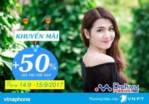 Vinaphone khuyến mãi 50% giá trị thẻ nạp ngày 14/9 đến 15/9/2017