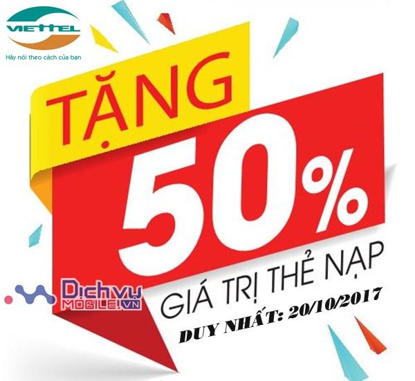 Viettel khuyến mãi 50% giá trị thẻ nạp ngày 20/10/2017