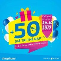 Vinaphone khuyến mãi 50% giá trị thẻ nạp ngày vàng toàn quốc 24/10/2017