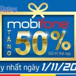 Mobifone khuyến mãi ngày vàng: Tặng 50% giá trị thẻ nạp ngày 1/11/2017