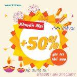 Viettel khuyến mãi tặng 50% giá trị thẻ nạp từ ngày 24/10 – 31/10/2017