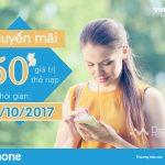 Vinaphone khuyến mãi 50% thẻ nạp cục bộ trong ngày 12/10/2017