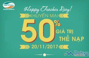 Viettel khuyến mãi 50% thẻ nạp ngày 20/11/2017 mừng ngày nhà giáo Việt Nam