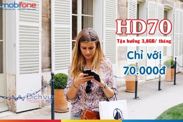 Đăng ký gói cước HD70 Mobifone sử dụng 4G với 3,8GB data tháng