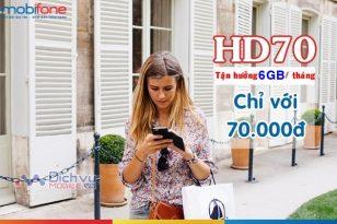 Đăng ký gói cước HD70 Mobifone sử dụng 4G với 6GB data tháng