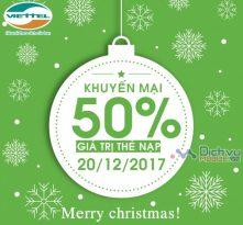 Mừng giáng sinh Viettel khuyến mãi 50% thẻ nạp ngày 20/12/2017