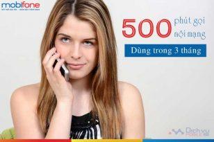 Đăng ký 500 phút gọi nội mạng Mobifone dùng trong 3 tháng