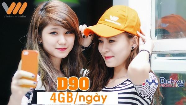 Đăng ký gói D90 Vietnamobile 4GB/ngày cho tất cả thuê bao