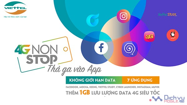 Cách đăng ký gói 4GNONSTOP Viettel nhận 1GB và miễn phí dùng 7 ứng dụng