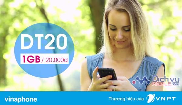 Đăng ký gói DT20 Vinaphone sử dụng 3G theo tuần chỉ 20,000đ/ 1GB