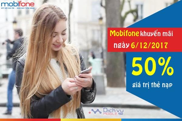 Mobifone khuyến mãi thẻ nạp ngày 6/12/2017