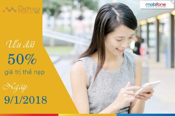 Mobifone khuyến mãi 50% thẻ nạp ngày vàng 9/1/2018