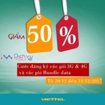 SOCK: Viettel khuyến mại giảm 50% cước đăng ký hàng loạt gói 3G và 4G mừng giáng sinh