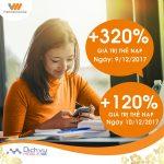 Vietnamobile khuyến mãi 120%-320% giá trị thẻ nạp 2 ngày 9/12 và 10/12/2017