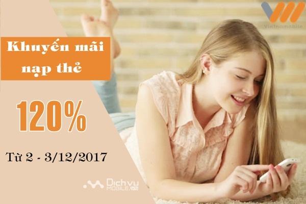 Vietnamobile khuyến mãi thẻ nạp ngày 2/12 và 3/12/2017