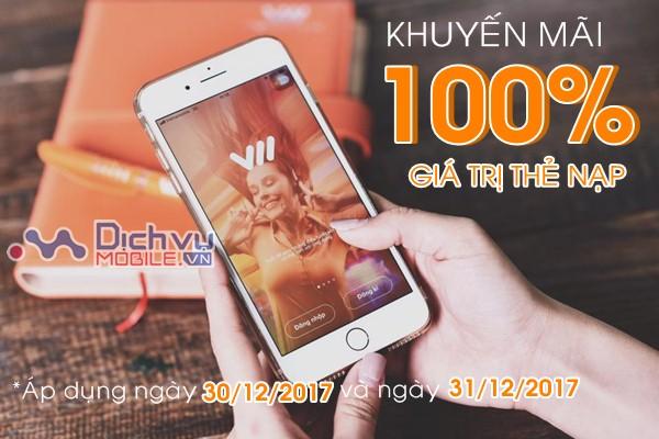 Vietnamobile khuyến mãi 100% thẻ nạp ngày 30/12 và 31/12/2017