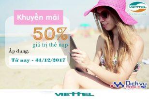 Viettel khuyến mãi thẻ nạp từ nay đến 31/12/2017