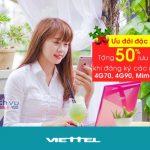 Viettel khuyến mãi tặng 50% lưu lượng ưu đãi các gói khuyến mãi, gói 3G&4G