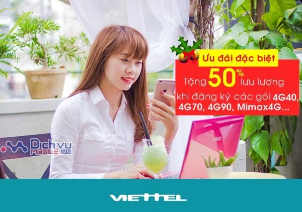 Viettel tặng 50% lưu lượng ưu đãi các gói khuyến mãi, gói 3G&4G
