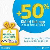 Vinaphone khuyến mãi 50% thẻ nạp ngày vàng 12/1/2018