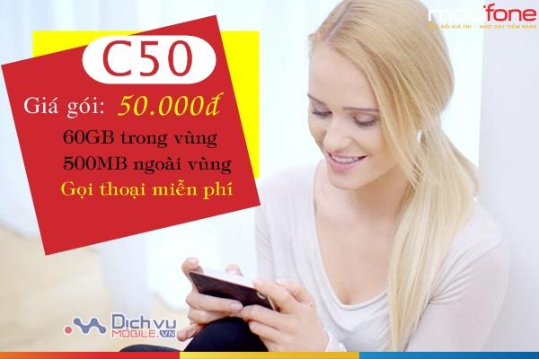 Gói C50 Mobifone ưu đãi hơn 60GB, miễn phí gọi không giới hạn