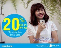 Vinaphone khuyến mãi tặng 20% giá trị thẻ nạp trong ngày 13/3/2018