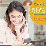 Mobifone khuyến mãi 50% giá trị thẻ nạp ngày 23/1/2018