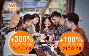 Vietnamobile khuyến mãi 300% thẻ nạp ngày 20/1 và 100% thẻ nạp ngày 21/1/2018